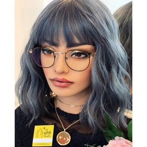 "12"" Ashy Blue Gray Wavy Wig with Bangs 